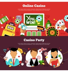 Casino horizontal banners set vector