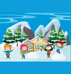 Children playing in snow at home vector