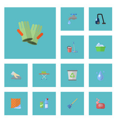 Flat icons gauntlet towel sweeper and other vector