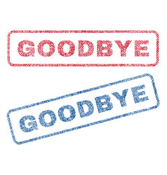 Goodbye textile stamps vector