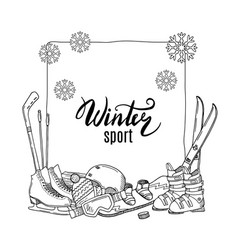 hand drawn winter sports equipment elements vector image