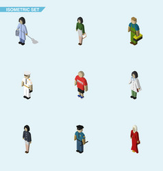 Isometric human set of girl doctor guy and other vector