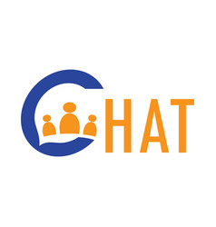 letter c chat people logo vector image