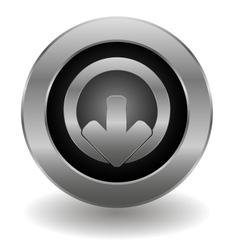 Metallic logout button vector