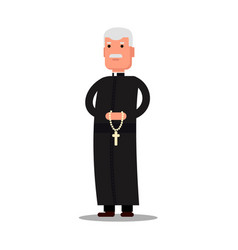 Pastor character standing with cross isolated on vector