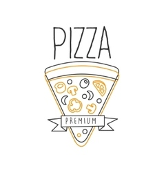 Pizza slice and ribbon premium quality italian vector