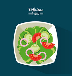 Poster delicious food in blue background with dish vector