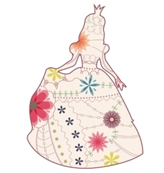 Princess vintage silhouette vector image vector image