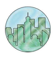 Scribble city view vector
