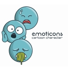 Set emoticons character sad sick surprise design vector