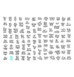 Set of 100 hand lettering positive quotes about vector