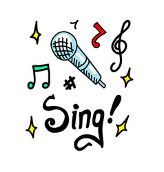 sing doodle vector image vector image