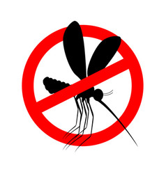 Stop mosquito red prohibition sign ban insects vector