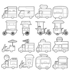 Street food vehicles icons set outline style vector