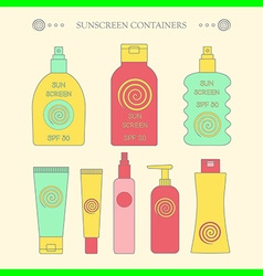 Sunscreen bottle set outline vector image