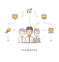 Teamwork three cartoon characters standing vector
