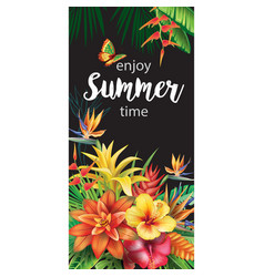 template with tropical flowers vector image vector image