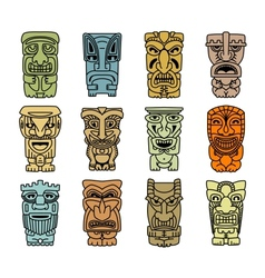 Tribal masks of idols and demons vector