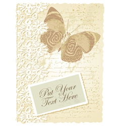 Vintage butterfly card vector image vector image