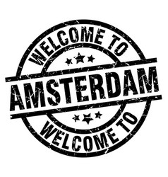 Welcome to amsterdam black stamp vector
