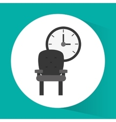 Chair and clock office related items icon vector