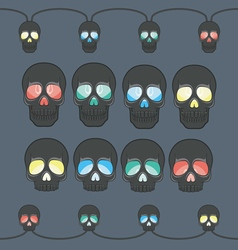 Garland with lights in the form of a skull vector image