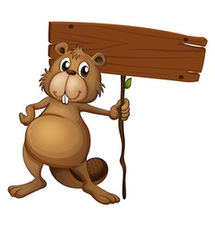 Cartoon beaver signboard vector