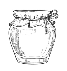 Mason jar freehand pencil drawing vector