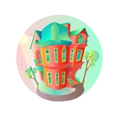 Bright house in the springtime cottage in vector
