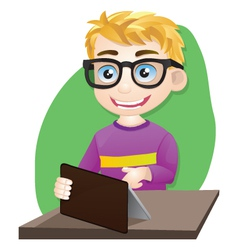 Smart Boy Playing Tablet vector image