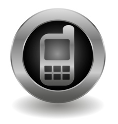 Metallic cell phone button vector