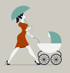 Young woman walking with stroller under rain vector
