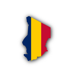 Map and flag of chad vector