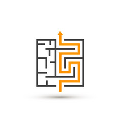 Maze logo isolated labyrinth with solution vector