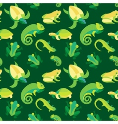 seamless pattern with frogs and reptiles vector image