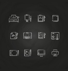 Writing tools line icons on chalkboard design vector