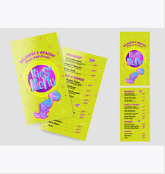 kids menu template in cartoon style bright and vector image
