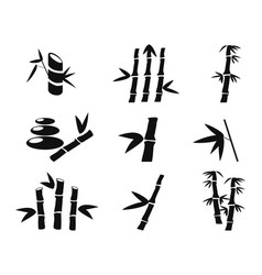Black bamboo icons vector