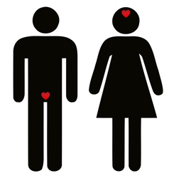 Difference of man and woman concerning love vector