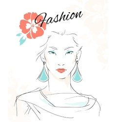 Fashion portrait of sensual woman vector