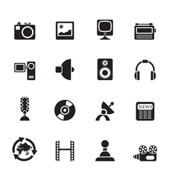 Silhouette media and household equipment icons vector