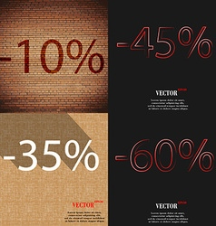 45 35 60 icon set of percent discount on abstract vector