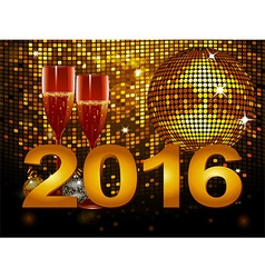 2016 new year background with champagne glass and vector