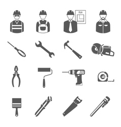 Construction workers tools black icons set vector