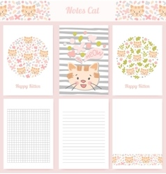Template wrapping kitten notebooks vector image