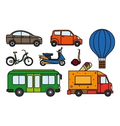City transport flat linear icons set vector