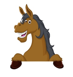Funny horse cartoon with blank sign vector