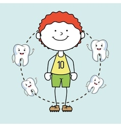 Boy with teeth isolated icon design vector