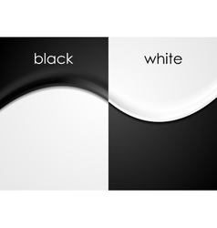 Black and white wavy flyers background vector image vector image