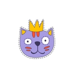 Cat in a crown bright hipster sticker vector
